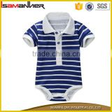 One piece baby clothes romper stripe polo neck new design baby suit                                                                                                         Supplier's Choice