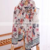 Floral Printed Tassel Cotton Bohemian Woman Scarf Women Fashion Accessories Fall Winter Accessory For Her Gift Ideas For
