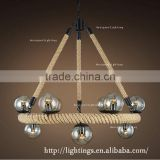 Industrial magic beans scandinavia murano glass fancy chandelier, hemp rope round pendant lighting