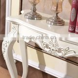 Home furniture luxury silver painted wooden dressing table designs for bedroom
