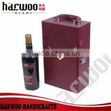 two compartments pu red wine box,pu leather wine box with wine set,pu leather wine box in stock