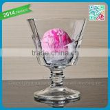 2014 newest crystal ice cream glass tumbler ice block shape tall glass shiney stylish ice cream glass cup