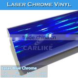 New Item Self Adhesive Blue Color Chrome Laser Rainbow Film For Car Wrap Vinyl