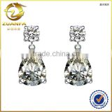 high end latest fashion 925 silver rhodium plated white stone earrings                                                                                                         Supplier's Choice