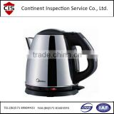 electric kettle,stainless steel cordless water/tea kettles,factory inspection,finished product inspection,online check,QC/QA