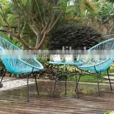 metal garden furniture set in blue 3.0 round wicker for two person use with coffee table