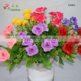 7 heads artificial rose flower with grass bouquets with glittering dewdrop