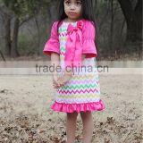 wholesale hot pink bloomer half sleeve girl lap dress muiticolor ruffles infant summer flutter party dress boutique outfits