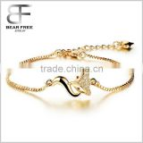 Cute Fox Shining AAA Cubic Zirconia Charm Gold Bracelet with Box Chain Length Adjustable