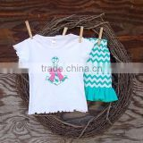 (CS831#white and green)anchor printed white short sleeve t shirt and green cheveron printed ruffle girl summer outfit