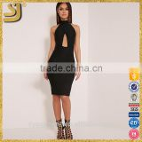 Black keyhole wrap midi dress