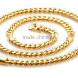 "Hight Quality Cuban Link Chain Heavy Flat Cuban Men Solid Gold Plated Men's Necklace Chain Miami Franco 24"" 30"" Necklace"