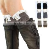 Hot selling short paragraph knit boot leg warmer hot girls colorful leg warmers with button                                                                         Quality Choice