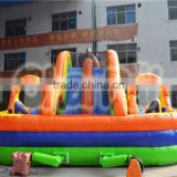 2016 new design inflatable obstacle course with slide equipment for children and adult for sale