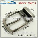 Price-off stock belt buckles for man's split top grain leather strap 35mm size brush gun metal shiny coating finish