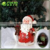 Standing antique santa claus figurines with bear for christmas items decorations
