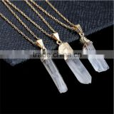 Quartz Pendant Necklace Stone Necklace Rose Quartz Jewelry Natural Stone Chain Crystal Mineral