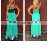 2015 Spring & Summer Sleeveless Stripe Strapless Womens Long Maxi Dress QL1416