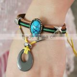 retro style Wrap personalized cord braided charm bracelets / novelty vintage emerald stone Genuine cow leather bangles wholesale