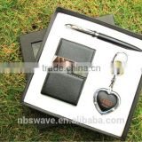 Metal Keyring Gift Set with Pen,Business Card Holder,Key Chain with Light
