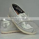 silver glitter baby canvas shoes kids casual shoes comfortable sneakers