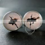 20mm silver plated bird shadow cut blue sky art collage round glass cabochon fashion cufflinks wedding cuff link gift 6600055