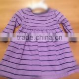 boutique baby little girl simple and elegant long sleeve purple striped dress flounced skirt small underpants