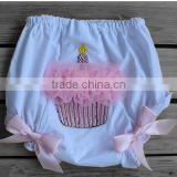 Hot sale high quality childrens boutique clothing baby girl short hot pants with cake candle kids lace bloomer