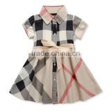 New Summer Brand Design Girls Dress Plaid 5 Colors Princess 2-6T Children Clothing England Style Baby Girl Clothes