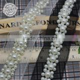 Sewing Accessories Black White Pearl Trim Bridal Sash Bridal Belt Beaded Jewelry Trim Lace Appliques