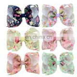 "4"" JOJO Children Hairpin Warped Floral Print Bow Tie Headdress"