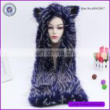 Bright Blue Plush Spirit Hooded Hat Animal Faux Fur Hat With Paw
