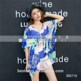 Latest design woman tops ladies summer blouse flower print Korean new fashion chiffon dresses