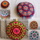 Indian Handmade Suzani Embroidered Cushion Cover Round Throw Pillow cover Cushion Embroidered Ethnic decorative Vintage cases
