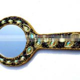 Rawat Handicrafts Indian Handmade Lac Beaded Glitter work Handicrafted make up mirror