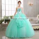 A line fashion style lake green appliqued strapless girls prom ball gown wedding dresses                                                                         Quality Choice                                                     Most Popular