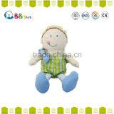 2015 China factory made a little boy wearing green clothes plush soft dolls toys for baby