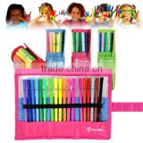 18 high quality and safety kids colorful washable marker pen set with rolled pen case