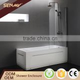 Foshan factory 3 panel brass hardware glass frameless hinge bathtub sliding shower screens