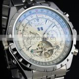 Jargar Men Gent White Tourbillon Date Aviator Mechanical Watch