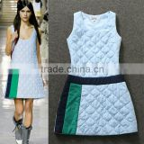 Best selling 2014 new fashion runway sleeveless autumn cotton fancy patchwork dresses for young women wholesale N29021