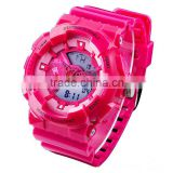 Western style LED multifunctional sport watches lady with Japan quartz analog and China digital movement
