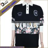Men's heavy cotton black custom printed long sleeve football jersey