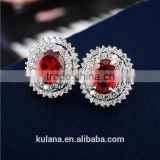 EZ-21 Crystal Micro Paving Jewelry Brass Material Rhodium Plated Crystal Earrings