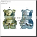 chrome plating bear shaped ceramic money bank