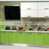 Acrylic stone countertop fresh apple green lacquer whole ktichen cabinet modern style facotry price