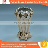 Gold plated ceramic craft flower vase
