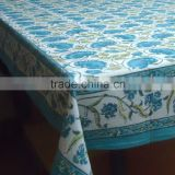 Blue Lotus Table Cloth Hand Block Printed