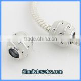 Wholesale Sterling Silver White Enamel Charm Beads BES45A