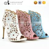 Latest brazil new design beautiful girls fashion flower pattern high heel sandals